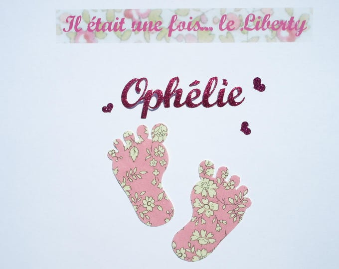 Applied fusing baby feet and name customizable fabric liberty Capel flex pink glittery patch it's a girl ironing