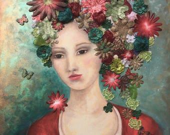 Fine art print of flowers, collage, beautiful lady, surreal, flowers hat. Wall art, wall decor. Digital art JoWalshArt