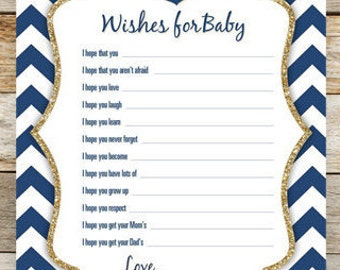 Nautical Glitter Anchor Wishes for Baby - Baby Shower Game - Printable Shower Game