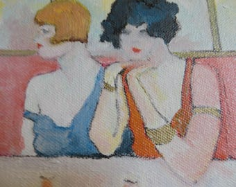 Oil Painting Small Table for Two 6 x 6 inches Stretched Canvas