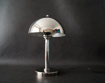 Table lamp chrome, writing lamp, lamp mushroom, 70s lamp