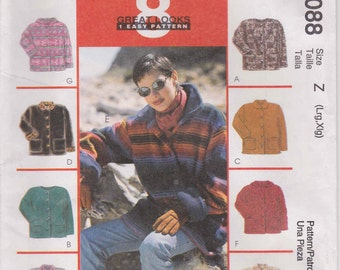 Jacket Pattern Fall Unlined Jacket Pattern Misses Size Large and Extra Large McCalls 9088