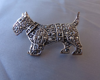 Brooch - Vintage Marcasite Silver Tone Scottie Dog Brooch.  Scottie Pin.  Dog Pin.  Dog Brooch
