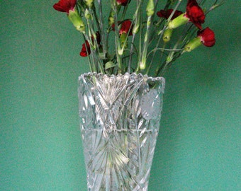 Vintage Flower Vase - 24% Lead Crystal - Saw-tooth Rim and Frosted Wild Roses