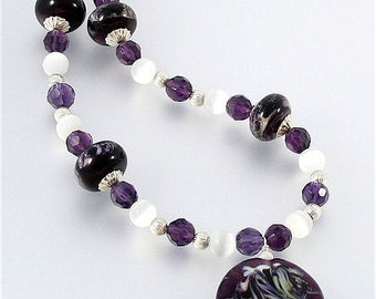 Handmade Lampwork Bead Necklace - Purple White Silver - SRAJD