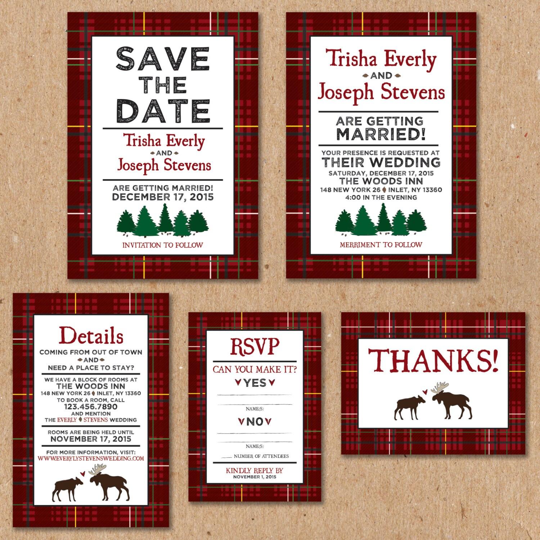 Winter Wedding Invitation Set: Printable Invitation 5x7