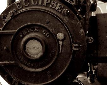 Train Home Decor, Eclipse Steam Engine Photo, Sepia Photography