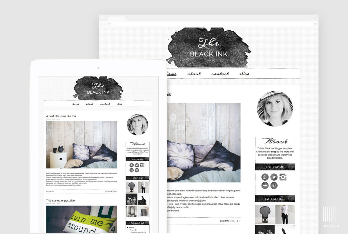 Watercolor Blogger Template Creative Blog Layout Lifestyle