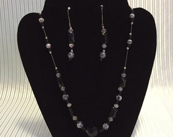 Crystal and Glass Bead Necklace and Earring Set