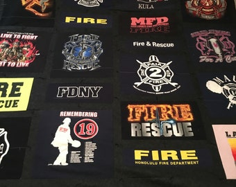 Fire Dept / Firefighter T Shirt Memory Quilts