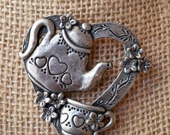 Vintage G. Le pewter teapot Heart Brooch, pewter teapot brooch, teapot heart brooch