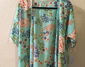 China Blossom Kimono, Floral Kimono, Toddler Kimono, Aqua Kimono, Girls Kimono