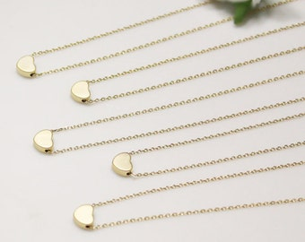 Bridesmaid gifts - Set of 5 - Golden tiny heart simple necklace