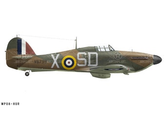 Airplane Decal - Hawker Hurricane Mk I 501 Squadron, Royal Air Force Decorative Vinyl Wall Art