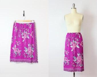 vintage 60s slip / 1960s EMILIO PUCCI floral slip / designer slip skirt / purple floral skirt slip / summer slip skirt