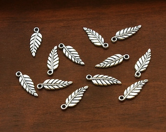 Antiqued Silver Plated Pewter Feather Charms 19mm - Set of 12