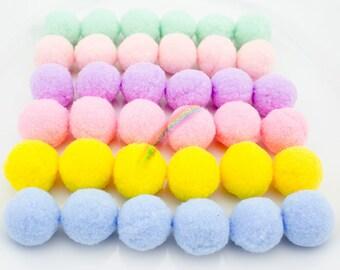 17 COLORS - 25mm - 40pcs High Density Polyester Pompom Balls, Craft Pom Poms, Pompons, Party Decorations, DIY Craft Supply