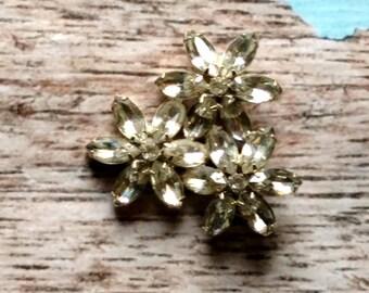 Oversized Rhinestone Flower Pin - Rhinestone Statement Pin - Vintage Rhinestone Cluster - Flower Brooch