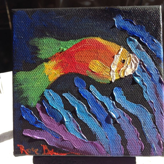 The Clown Fish, Nemo Painting with Easel, Child Nursery Art, Landscape Painting, Miniatures