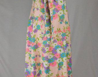 Vintage 1960/70's Lanz Dress Lord & Taylor Sleeveless Empire Maxi Long Light Pink Hot Pink Blue Purple White Green Floral Print Small (496)