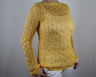 Handknit lace sweater, Summer knit sweater, Yellow cotton sweater, Womens knit sweater, Cotton knit cardigan