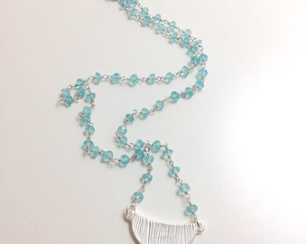 Hand Beaded light Blue Apatite Gemstone Necklace with Silver Crescent Pendant - As Seen on Jane the Virgin