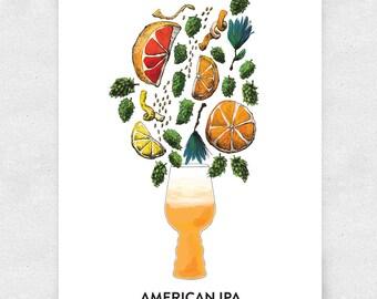 Beer Art Print, American IPA, Wall Art, Bar Art, Brewery Art, with Glass / 12x16 Print