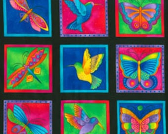 Laurel Burch Fabric Butterflies, Dragonflies, Humming Birds Black Squares Flying Colors II 3 rows 832-3
