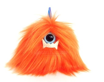 Puff Keychain Faux Fur Keychain Fur Monster Charm (Glow-In-The-Dark Fangs) - Small