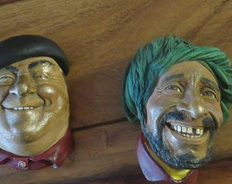 Adorable Vintage Smiling Englishman And Toothless Pirate Ceramic Bossons Head Wall Plaques.