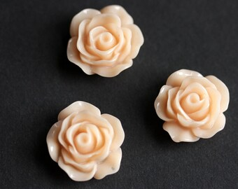 Peach Rose Flower Refrigerator Magnets. Set of Three. Peach Flower Magnets. Handmade Home Decor.