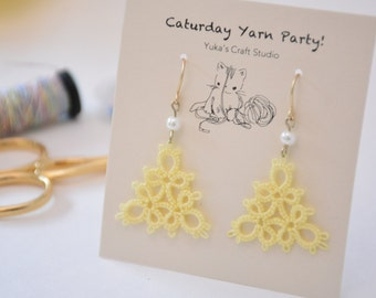 Tatting Lace Earrings: Handmade, Yellow Triangle