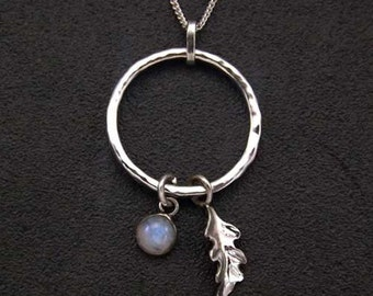 Sterling Silver Moonstone Oak Leaf Pendant. Custom Made, UK