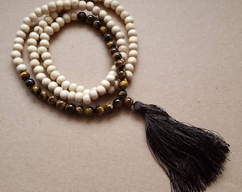 Necklace wooden beads and gemstone Tiger eye and large Pompom