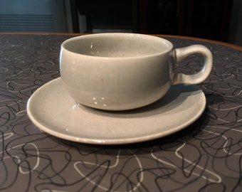 Demitasse Russel Wright Steubenville Rare Early Granite Demitasse / Espresso Cup & Saucer, Good Vintage condition
