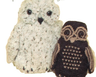 Vintage Knitted Owl Pattern PDF 552 from ToyPatternLand and WonkyZebra
