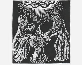 Witchcraft Sabbath Witches brew Casting spell cauldron embroidered back patch Malleus Maleficarum medieval old religion astral threads
