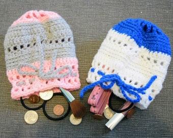Handmade Drawstring Bag. Crochet Meshy Pinwheel Pink and Gray + Blue and White Drawstring Pouches.