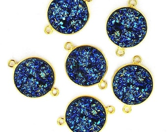 Mistique Synthetic Faux Druzy Round 14mm Double Bail, 24k Gold Plated (PZM-11157)