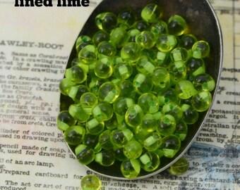 3mm X 4mm Mint Green Lined Chartreuse  Miyuki Fringe Beads