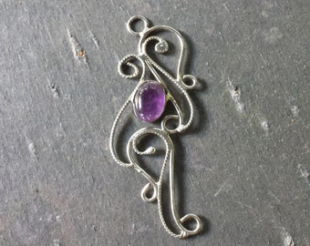 Sterling Silver Filigree and Amethyst  Pendant