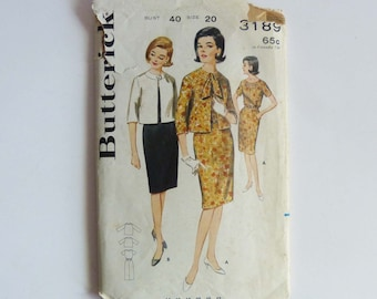Butterick Vintage Sewing Pattern 3189 Dress And Jacket 1965