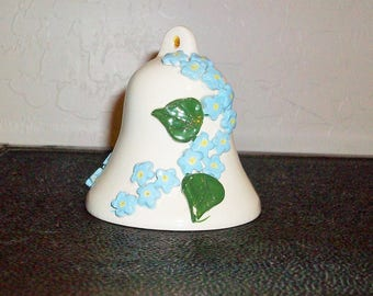 Vintage Ceramic Bell  Applique Blue  Forget Me Not Flowers Free Shipping in USA