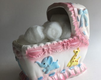 1960's Rubens Originals Japan #3251 musical baby craddle ceramic hand painted