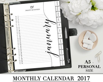 Printable MONTHLY CALENDAR 2017 for you A5 and Personal Planner - Page A5 and Personal dividers planner filofax inserts_Special offer!