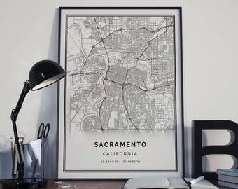 Sacramento map poster print wall art | California gift printable download | Modern map decor for office, home and nursery | MP35