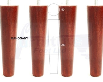 4x Solid Wood Replacement Furniture Legs Feet Sofa, Chairs, Settees, M8 (8mm)