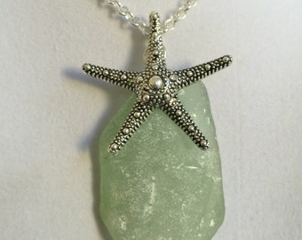 Sea Glass and Silver Starfish Necklace