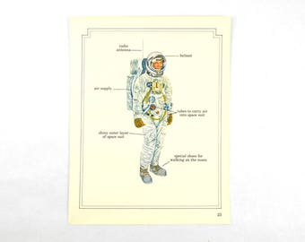 "Astronaut Space Man Suit Illustration Vintage 1970's Page from the book, ""Space"""