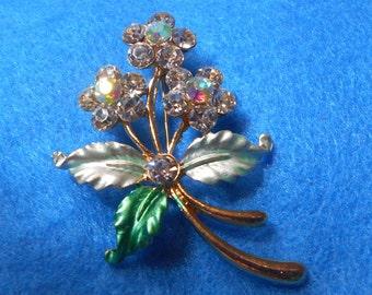 Crystal Flower Bouquet Brooch